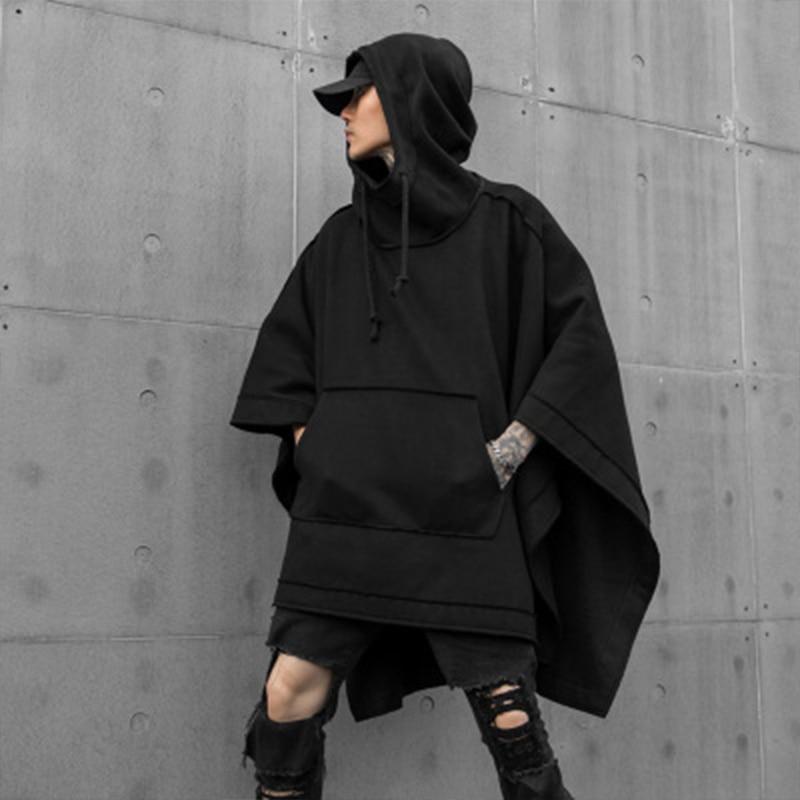 Autumn And Winter New Men's Loose Bat Cape National Tide Dark Mid-long Fashion Casual Windbreaker Hoodie Jacket