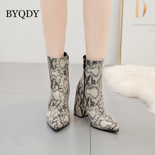 BYQDY Sexy Woman Print Snake PU Woman Ankle Boots Zip Pointed Toe Footwear Thick High Heels Female Boot Party Shoes Winter Boot цены онлайн