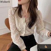 Woherb coreano Chic blusa mujeres temperamento cuello pesado encaje Floral a Crochet camiseta camisetas con transparencias Blusas De Mujer De Moda 2021