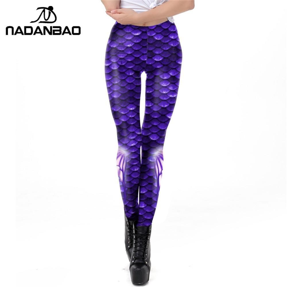NADANBAO Summer Women Leggings Mermaid Printing Fitness Leggins Slim Sexy Elastic Pants Fish Scales Legins Purple