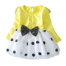 Baby Clothes Dress For Girl Long Sleeve Spring Autumn Party Vestido Infant Princess Kids Clothes#E