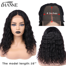 Water Wave 4*4 Lace Closure Wigs 3 Part Human Hair Glueless 10-20 inches Remy Wig for Women Natural Color HANNE