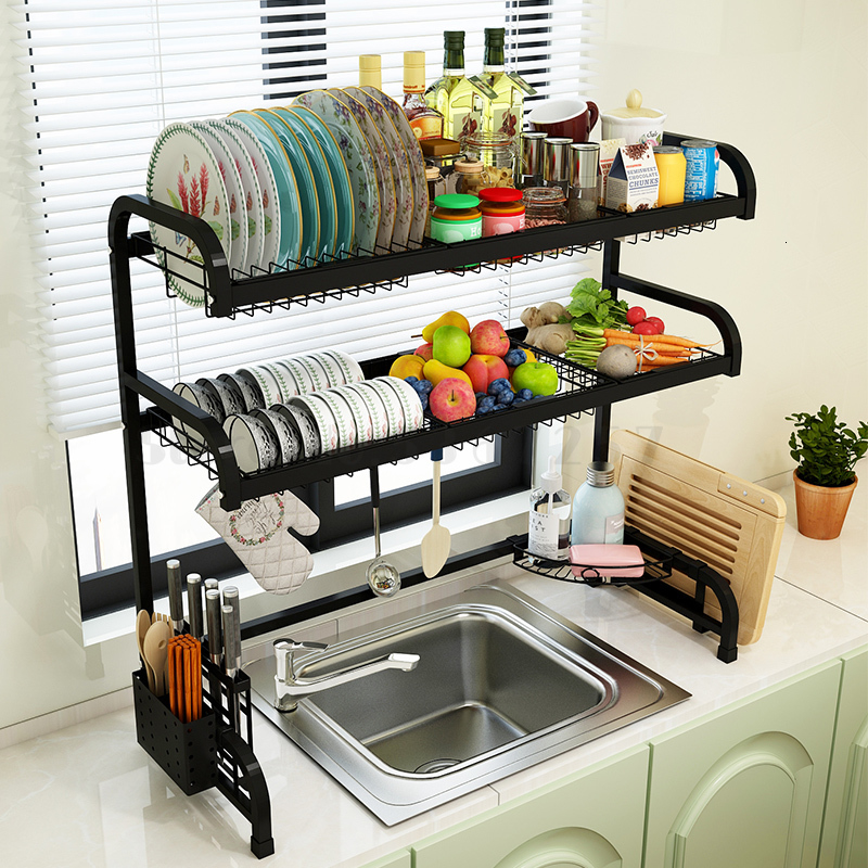 Kitchen Shelf Black Sink Drain Rack Bowl Dishes Chopsticks Cage Knife Rack Chopsticks Chopsticks Anvil Rack