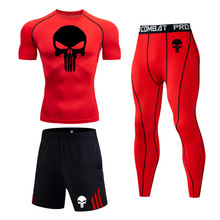 New Gym Running set Men Short sleeve T-shirt top Sports suit Run Leggings zip Pocket Shorts rash gard MMA Compression sportswear(China)