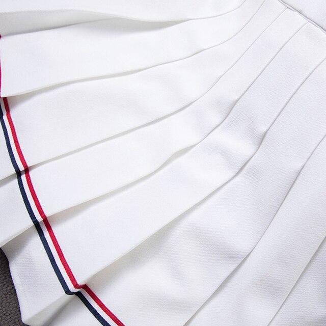 XS-XXL Four Colors High Waist A-Line Women Skirt Striped Stitching Sailor Pleated Skirt Elastic Waist Sweet Girls Dance Skirt 5
