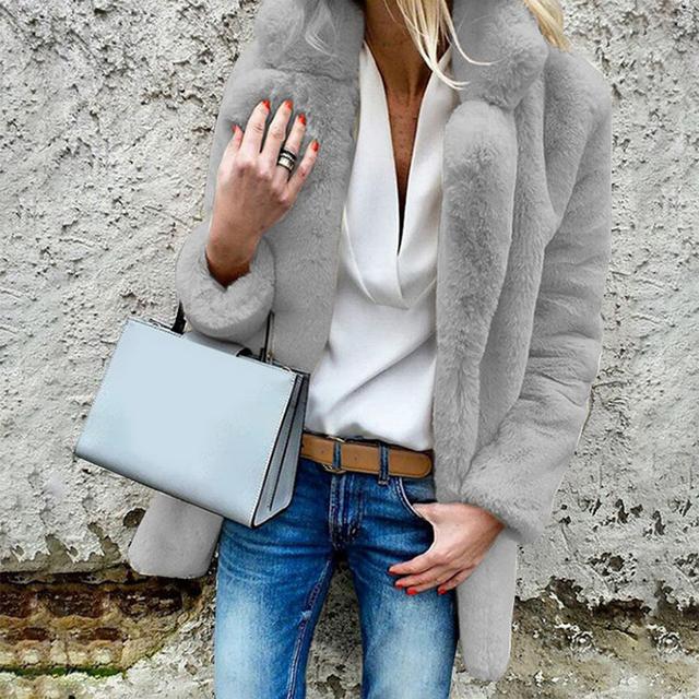 MJARTORIA Women Faux Fur Coats Winter Solid Fashion Open Point Outwear Female Luxury Long Sleeve Warm Thick Fluffy Jacket Coat