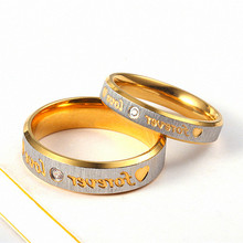 Forever Love Ring for women accesories Fashion Stainless Steel Men Jewelry Couple Eternity Engagement Crystal Wedding Rings luxury heart gold wedding ring set cz pave crystal rings for women fashion jewelry couple love ring men engagement gift o3m039