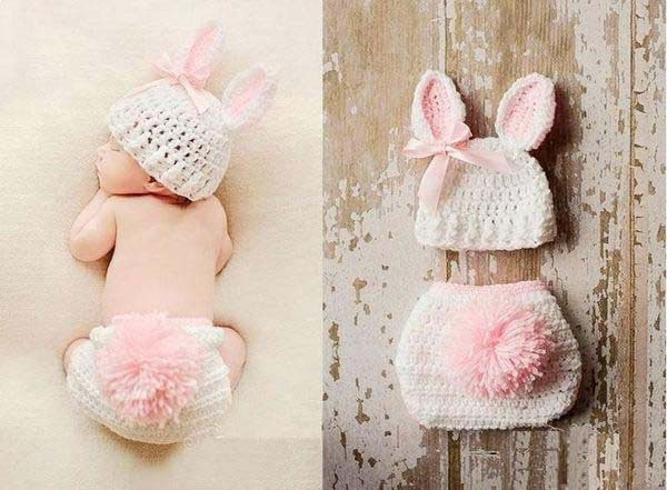 Big Tails Bunny Costume Cartoon Knit Hat Shorts Set Baby Newborn Photography Props Rabbit Baby Newborn Photo Shoot Accessories