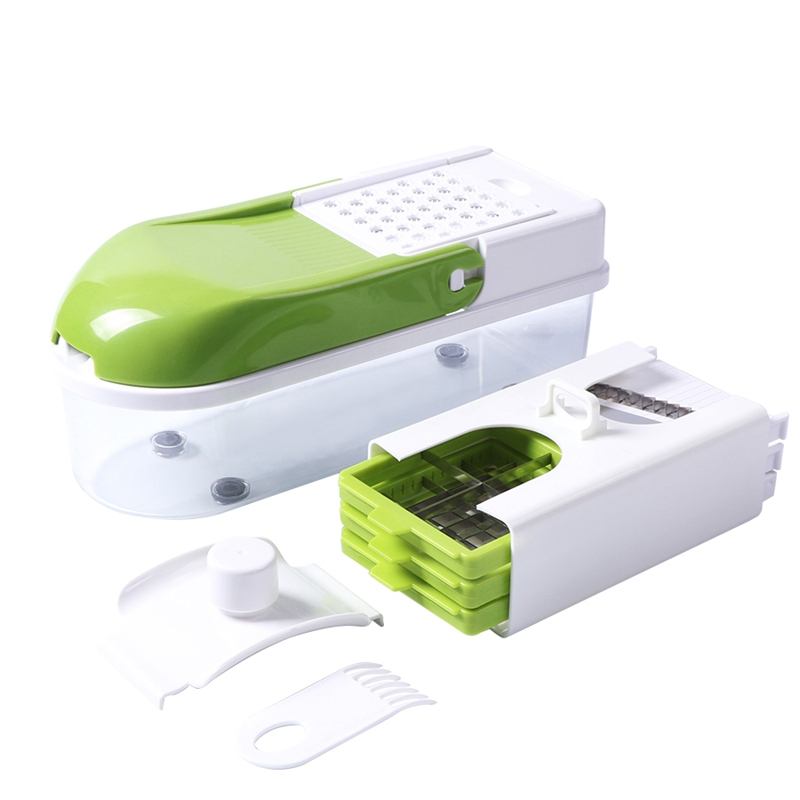 Manual Stainless Steel Slicer Vegetable Kitchen Tool Multi Function Replaceable Slice Vegetable Vegetable Cutter Green White in Electric Peelers from Home Appliances