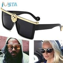 IVSTA 2017 Steampunk Sunglasses Men Medusa Gold 3D Lion Head Brand Designer Sun Glasses Vintage Hipster Gothic Big Frame