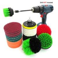 18Pcs/set Drill Brush Kit Power Scrubber Brush Scouring Scrub Pads For Bathroom