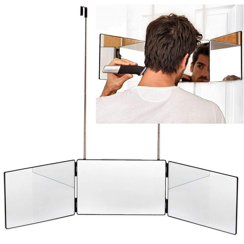 Retractable Hanging Three Sided Folding Makeup Mirror Freely Adjustable Height Shaving Hairdressing Mirror Three Fold Mirror