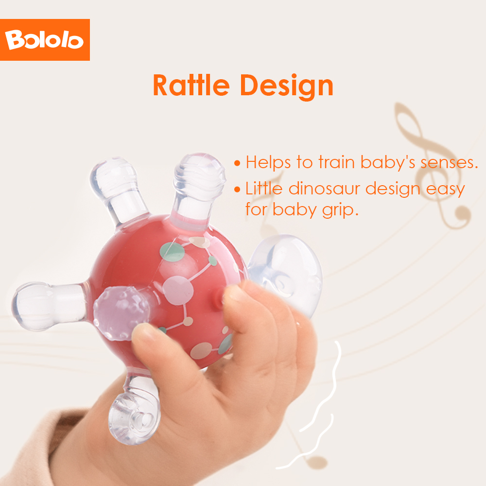Bololo baby Teether Toy Safe BPA  Free Dinosaur Teething Rattle Toy Soft Silicone Chew Dental Care Nursing Beads Gift for Infant