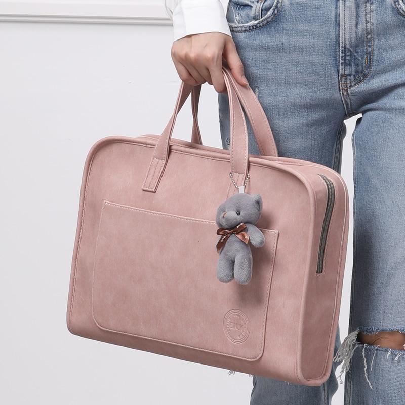 Briefcase PU Leather Laptop Bag Fashion Minimalist Handbag Shoulder Bag Macbook Air13.3 Inch Laptop Bag Computer Bag For Women