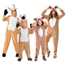 Umorden Unisex dorosłych dziecko boże narodzenie renifer kostium dziewczyna kobiety z kapturem przytulne jelenie jelenie kostium Cosplay Onesie Cartoon piżamy