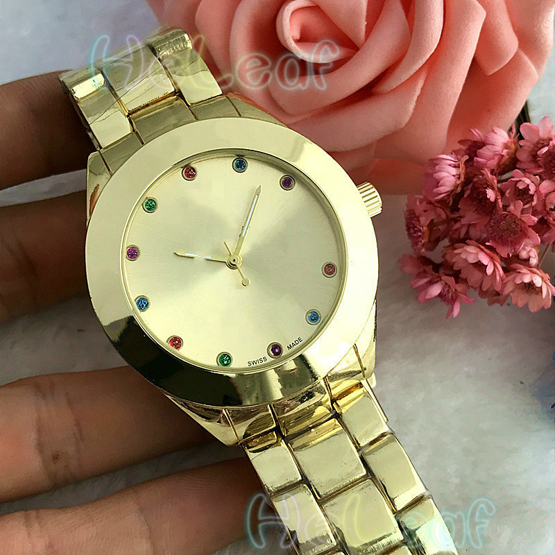Women Colorful Diamond Watches Luxury Fashion Silver Gold Round Dial Stainless Steel Band Quartz Watch Montre Femme Relogios
