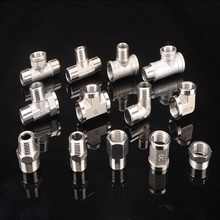 304 stainless steel water pipe joint tee elbow pair wire inner and outer wire direct through connector fittings