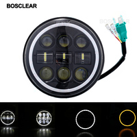 5.75'' 5 3/4 Motorcycle projector 45W Led Headlight Lamp DRL Angel eye Black /Chorme bosclear For Dyna Softail Sportster 883