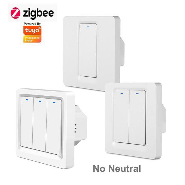 Zigbee умный переключатель дистанционного Управление Wi Fi, кнопочный переключатель настенный светильник переключатель 1 2 3 Gang без нейтральный один противопожарная проводка Работает с Amazon Alexa Google Home Tuya