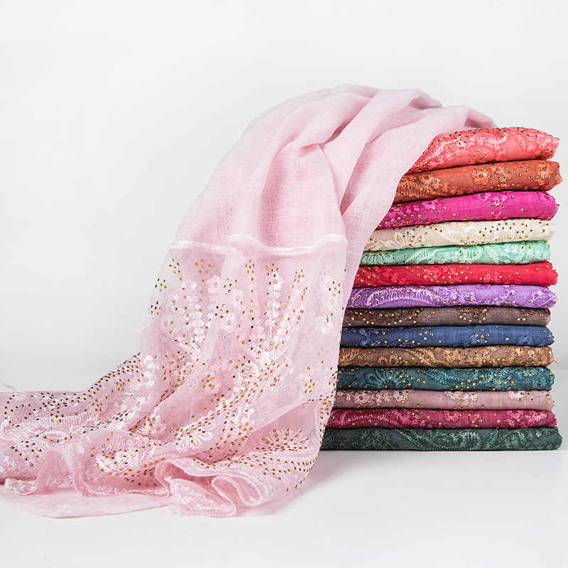 Brand designer rhinestone hijab lace scarf for muslim women soft islamic headscarf india wrap head scarves foulard femme hijabs