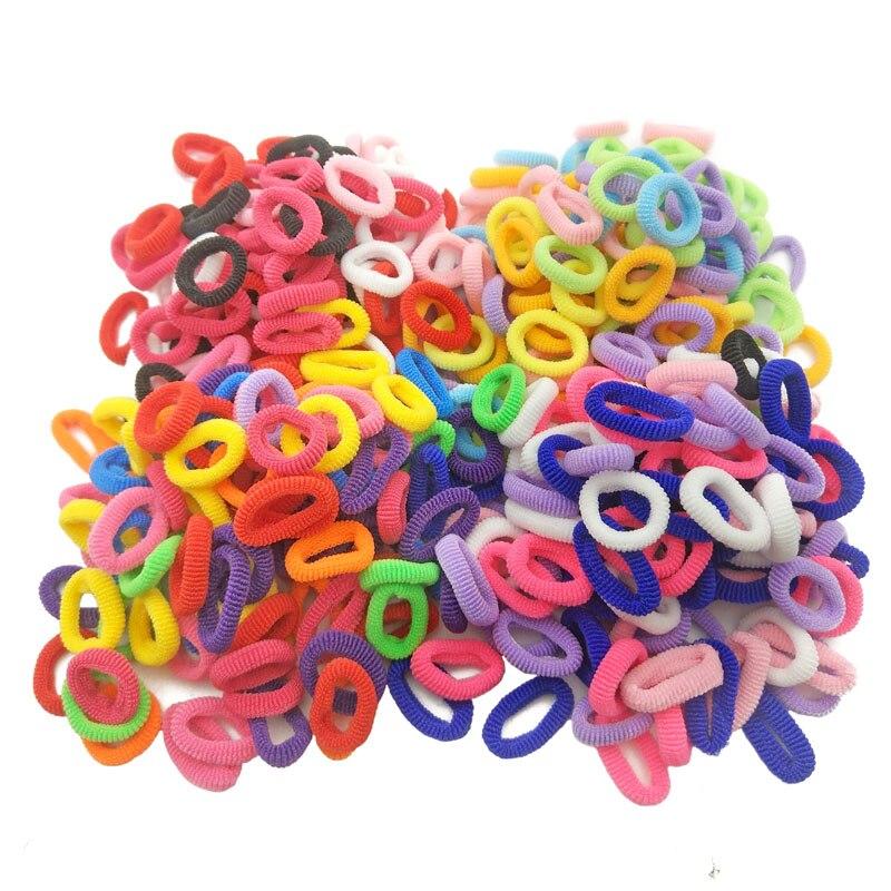 100 Pcs / Lot Kids Elastic Hair Bands Girls Children Hair Rope Hair Accessories Scrunchy Headbands Rubber Band Gum For Hair