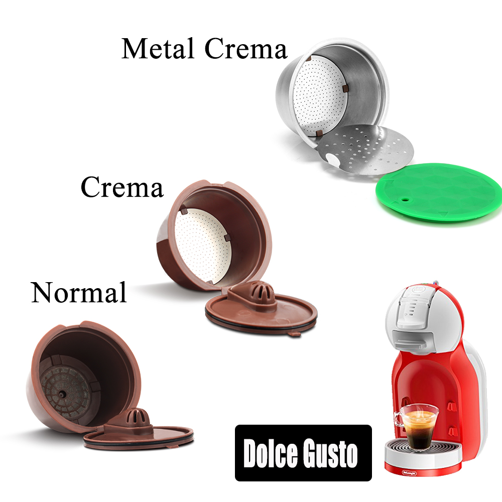 Reusable Filter Pod For Nescafe Dolce Gusto Stainless Steel Coffee Capsule Plastic Refillable Dolci Gusto Coffee Dripper Basket