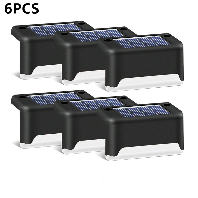 6/8pcs LED Solar Lamp Path Stair Outdoor Waterproof Wall Light Garden Landscape Step Stair Deck Lights Balcony Fence Solar Light