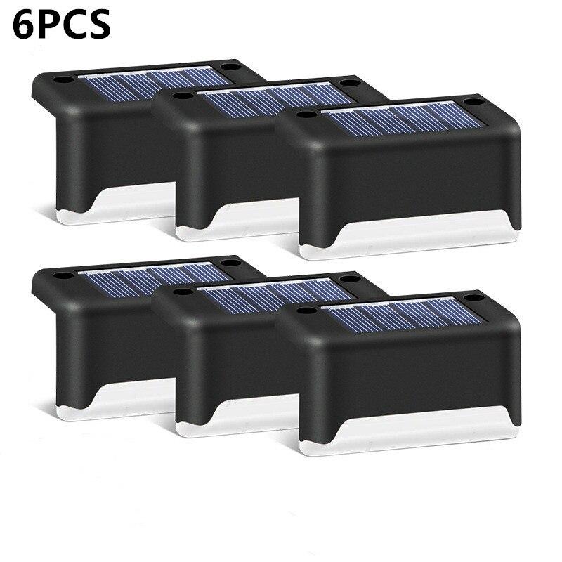 6 pçs led solar lâmpada caminho da escada luz de parede ao ar livre à prova dwaterproof água jardim paisagem passo escada deck luzes varanda cerca luz solar