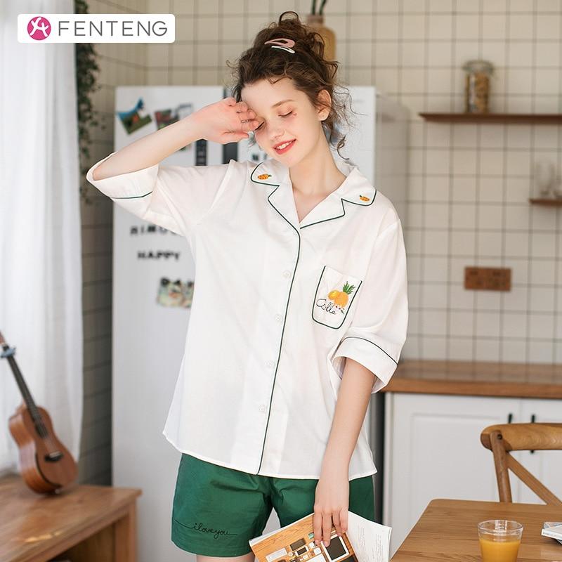 FENTENG Spring Pajamas Women 2PCS Half Sleeve Tops & Shorts Cute Pineapple Embroidery 100% Cotton Casual Sleepwear J98011174