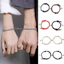2 pçs casal ímã atrair um ao outro personalidade criativa casal pulseira masculino e feminino charme menina pulseira jóias amante presente