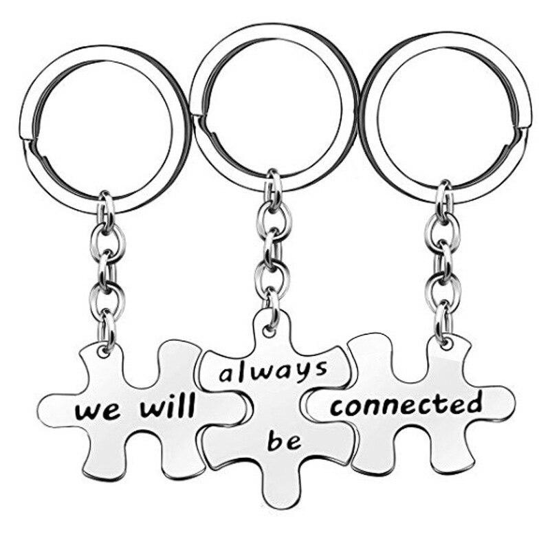 Мы всегда подключены брелок из нержавеющей стали, три части головоломки, друзья, сестры, лучший друг, BFF, брелки, подарки