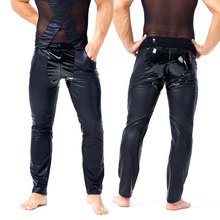 Lingerie Pencil-Pants Punk Sexy Tight Gay-Wear Faux-Leather 54 PVC Patchwork Erotic Shiny