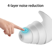 1Pair 3 Layer Soft Silicone Ear Plugs Tapered Sleep Noise Reduction Earplugs Sound Insulation Ear Protector