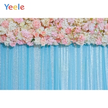 Yeele Wedding Party Flowers Blue Curtain Decor Wall Photography Backdrops Personalized Photographic Backgrounds For Photo Studio