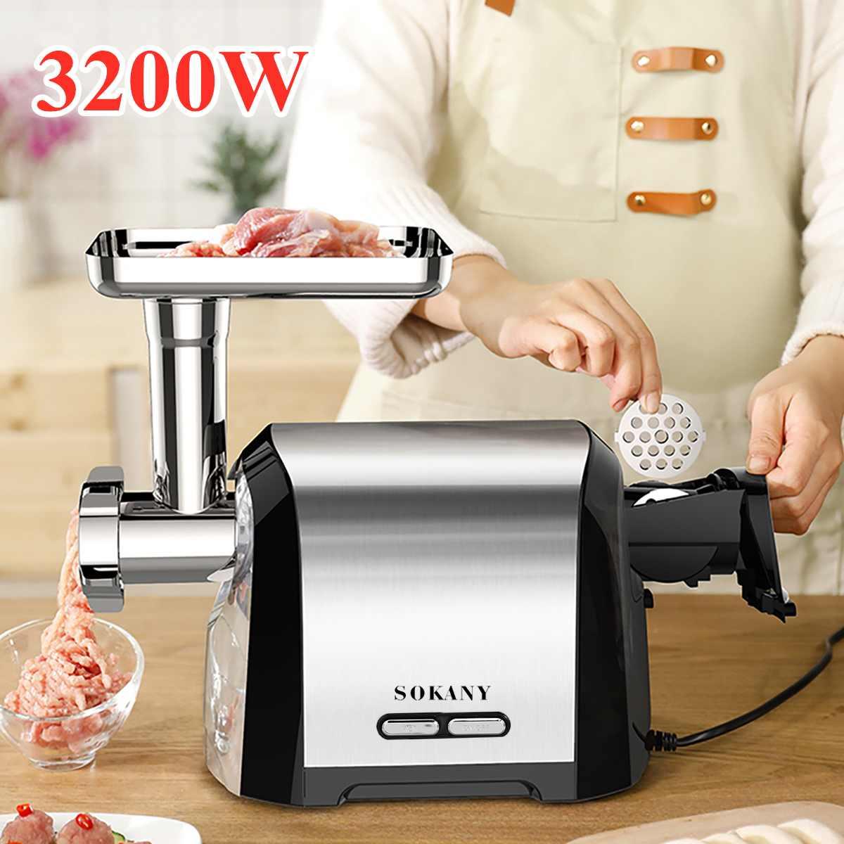 Электрическая мясорубка, мощная электрическая мясорубка из нержавеющей стали, 3200 Вт, колбасный шприц, мясорубка, домашний кухонный комбайн