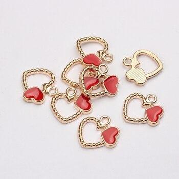 Stop cynkowy złoty emalia Charms czerwone serce Charms 18mm 10 sztuk/partia dla DIY biżuteria dokonywanie znalezienie akcesoria