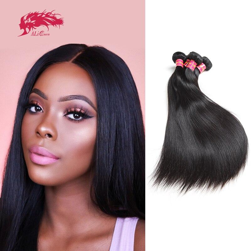 Ali Queen Hair Brazilian Straight Raw Virgin Human Hair Bundles Natural Black Color 6