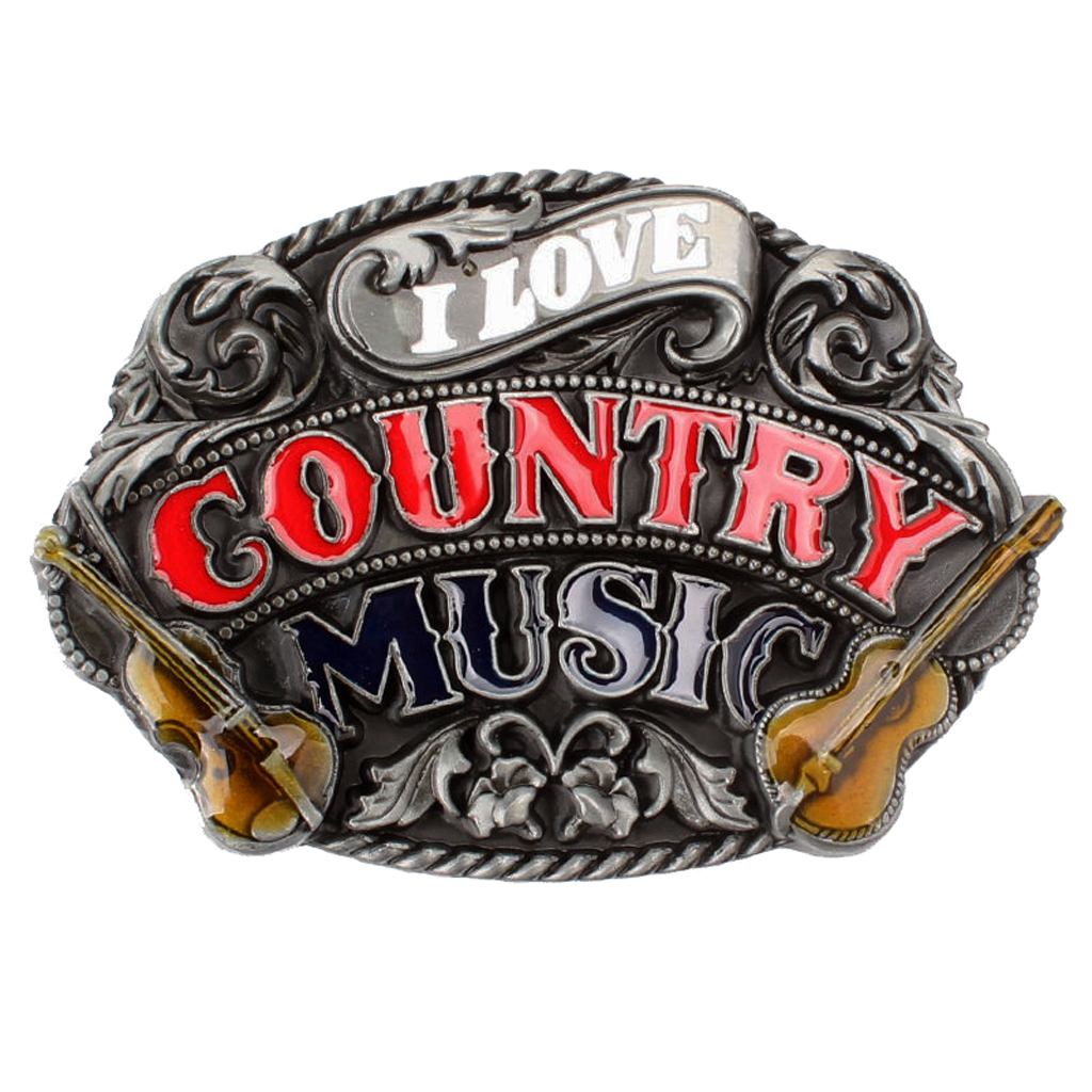 Novelty Country Belt Buckle 3D Music Guitar Metal Countryside Vintage Casual