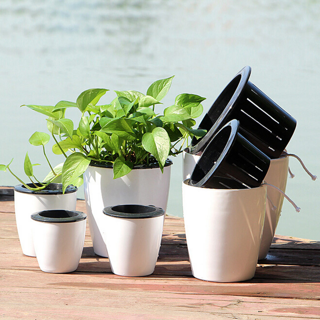 Flower-Pot Garden-Pots Desktop Self-Watering Plastic Lazy Water-Absorption Planter-10 title=