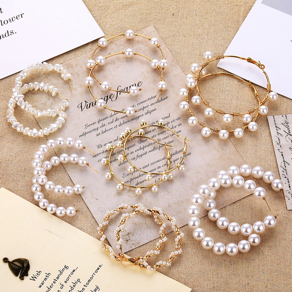 VKME Large Geometric Pearl Earrings Long Earrings Women Earrings Pendant Earrings Brincos Ethnic Vintage Jewelry Party Gifts