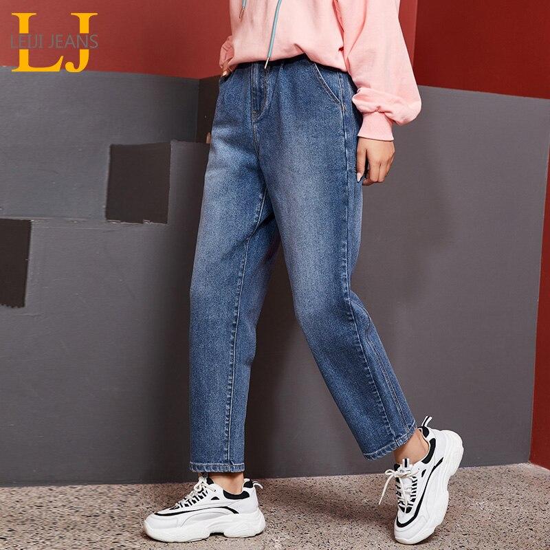 LEIJIJEANS 2019 Autumn Low Elastic High Waist High Street Harem Pants Large Size Women's Wear White Light Blue Mujer Jeans 9128