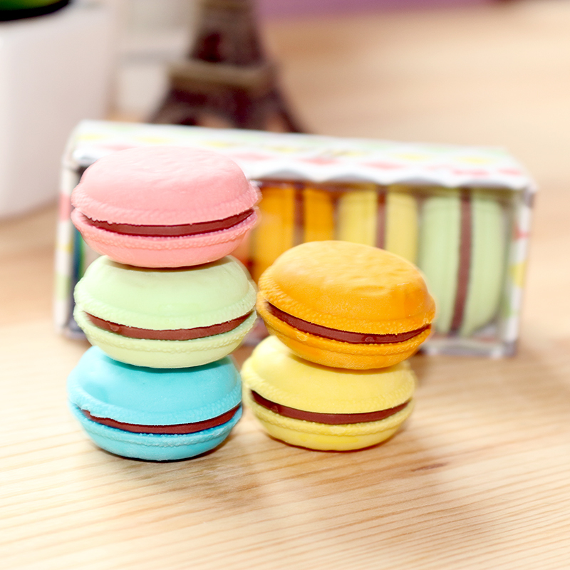 5pcs Kawii Cute Macaron Color Pencil 3d Soft Erasers Gift For Kids Boys Girls Cake Pen Rubber Stationery Office School Supplies