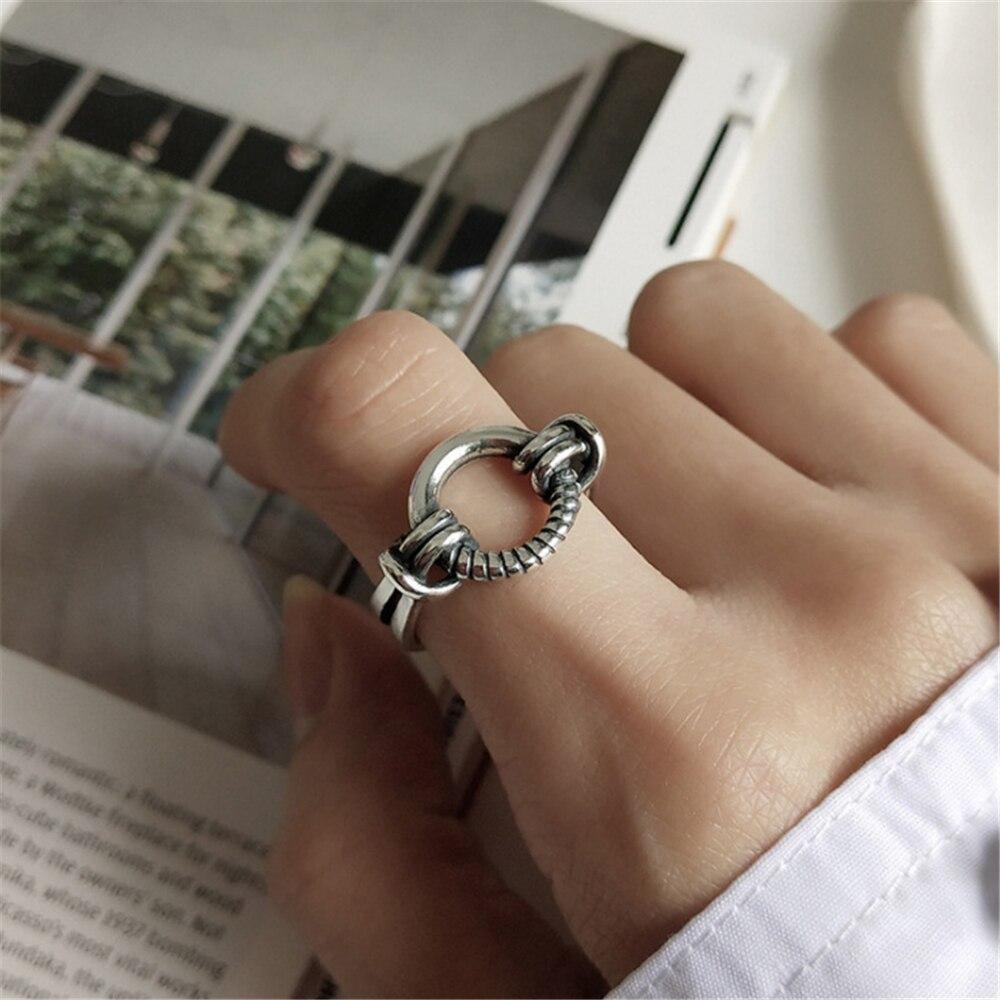 Großhandel Heißer Verkauf Schmuck Für Frauen Mädchen Ring Braut Sets Geometrische Runde Tibetischen Silber Vintage Punk Rock Ringe Hohe Qualität