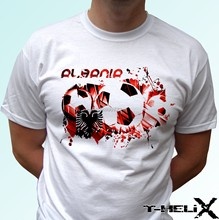 Albania football flag - white t shirt top country design - mens womens kids baby(China)