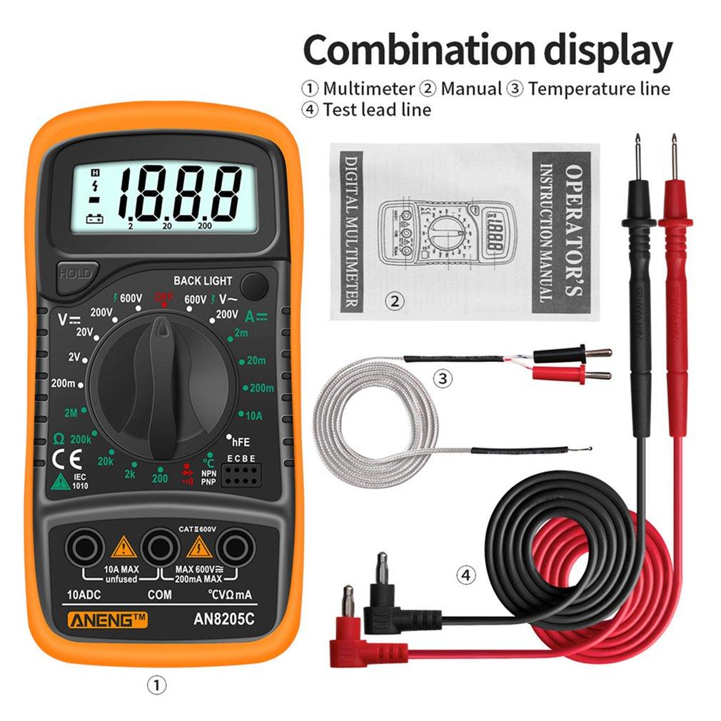 Aneng an8205c profissão multímetro digital ac/dc amperímetro volt ohm tester medidor multimetro com termopar lcd backlight Multímetros    -