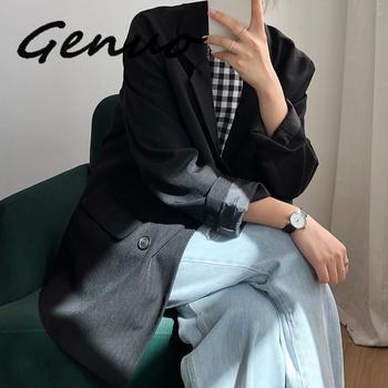 Genuo New 2019 Autumn Winter Women Black Blazers And Jackets Vintage Khaki Loose Womens Long Sleeve Coat