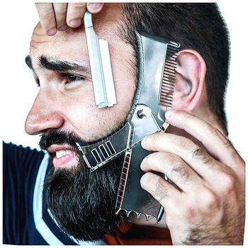5 In 1 Men Beard Shaping Styling Template Comb Rotatable Men's Beards Combs Beauty Tool for Hair Beard Trimming Moustache Comb 1