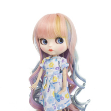 Wigs Only!Heat Resistant Long Curls Doll Hair Burgundy Body Wavy Color  Baby Girl Blyth Pullip Doll Wig with 9-10 Inch 9 10 inch bjd doll wig double horse silver color sailor moon wig pullip