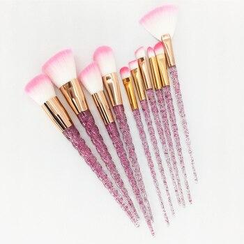 10pcs Unicorn Makeup Brushes Set Diamond Crystal Handle Blending Foundation Powder Eyeshadow Eyebrow Brush Beauty Make Up Tools 1