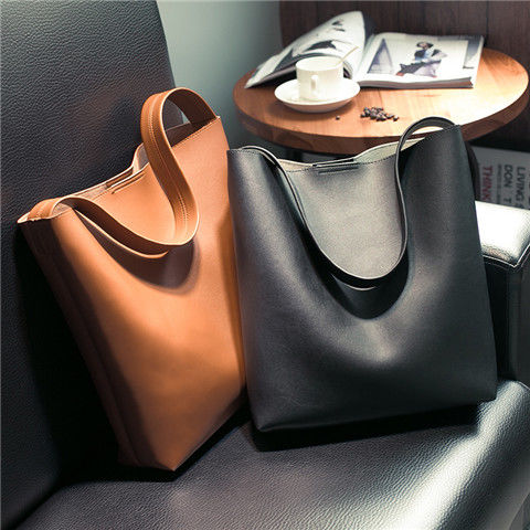 Korea Ins Female Bag 2019 New Simple One-shoulder Bucket Bag Casual Large Capacity Tote Bag